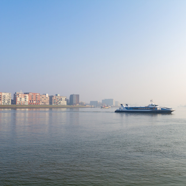 """""""Ferry boat crossing the river"""" stock image"""