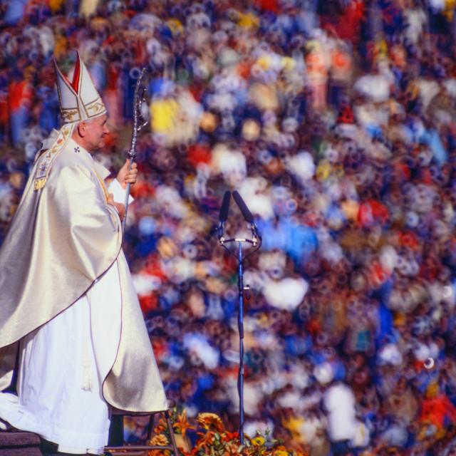 """""""John Paul II at Living History Farms"""" stock image"""