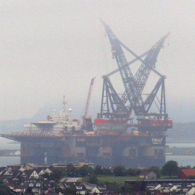 """""""Oil platform ready to be towed offshore Stavanger, Norway"""" stock image"""