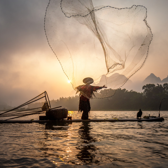 """Li River Fisherman"" stock image"