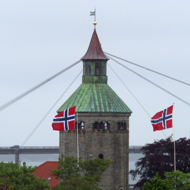"""""""Valberg Tower, Stavanger, Norway from old town"""" stock image"""