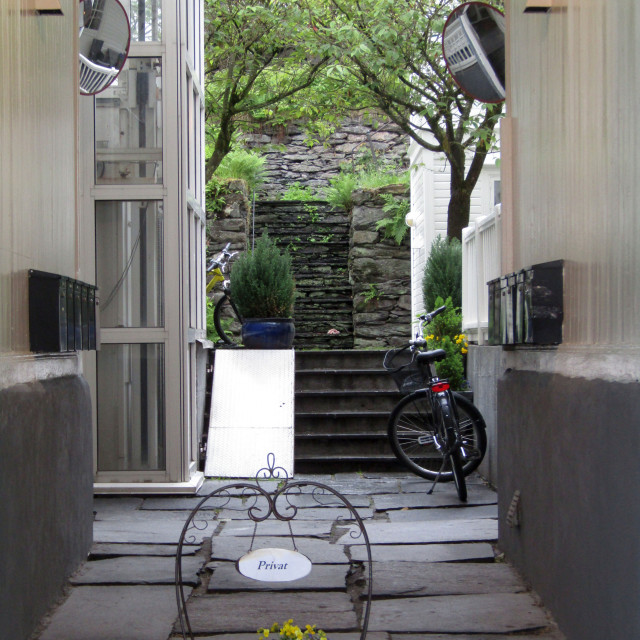 """Courtyard entrance to property in Stavanger, Norway"" stock image"