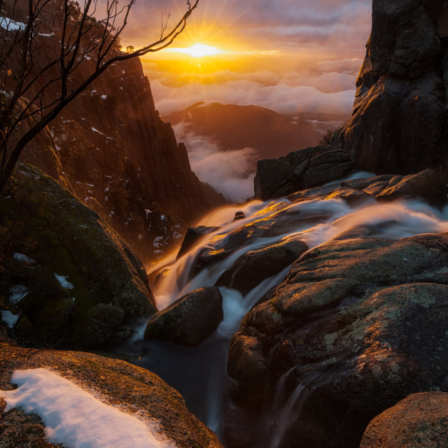"""Crystal Brook Falls Sunrise"" stock image"