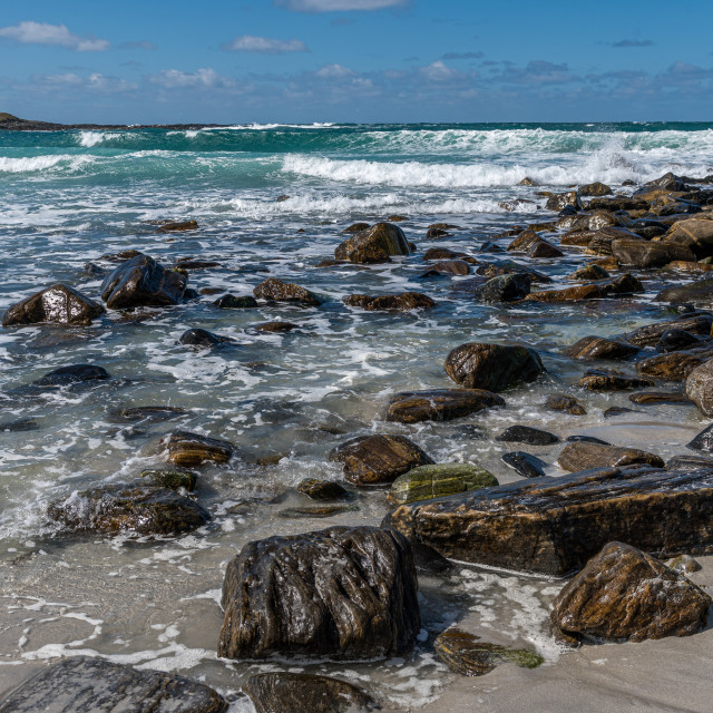 """""""The shoreline at Udal"""" stock image"""