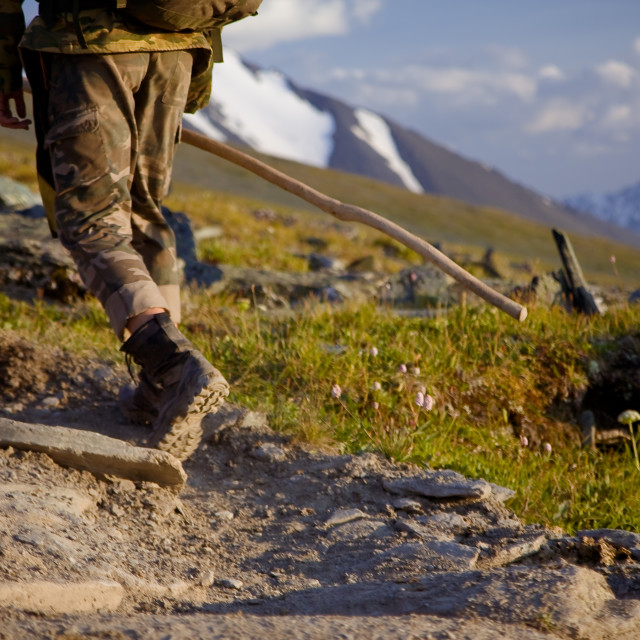 """""""Hiker with a backpack walking in mountains. Amazing nature landscape."""" stock image"""