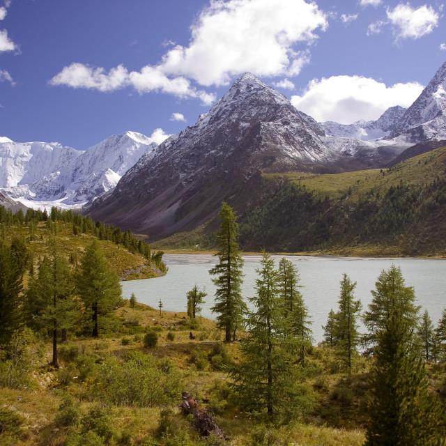 """Beautiful panoramic view at Akkem mountain lake and mountain range. Belukha national park, Altai republic, Siberia, Russia"" stock image"