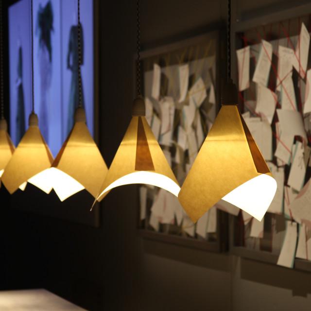 """Scandic design ...row of lights ...Nordic Museum , Stockholm"" stock image"