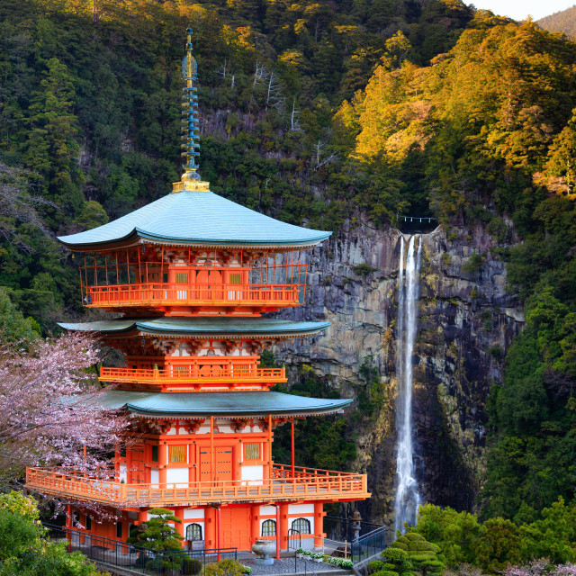 """""""Japanese temple and Waterfall"""" stock image"""