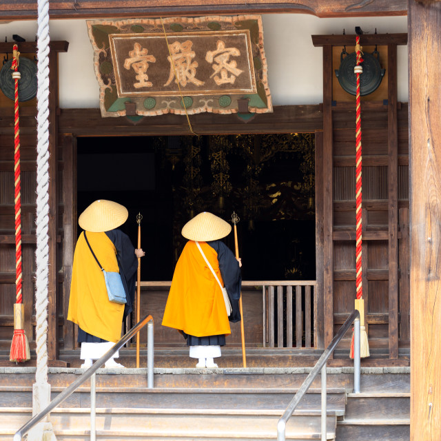 """""""Japanese monks at temple"""" stock image"""