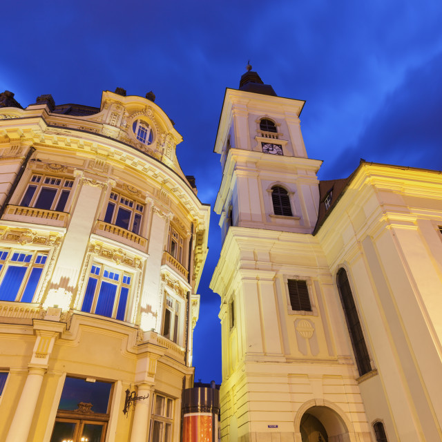 """Holy Trinity Church and Sibiu City Hall"" stock image"