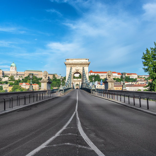 """Szechenyi Chain Bridge and National Gallery"" stock image"