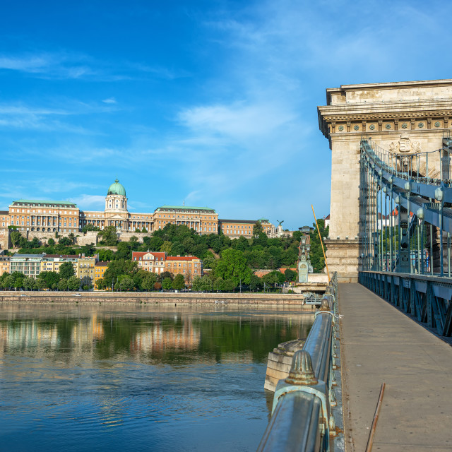 """Danube River and National Gallery"" stock image"