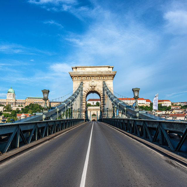 """Bridge and Budapest Cityscape"" stock image"