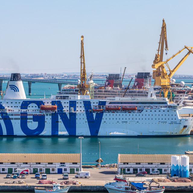 """GNV Ferry in Cadiz"" stock image"