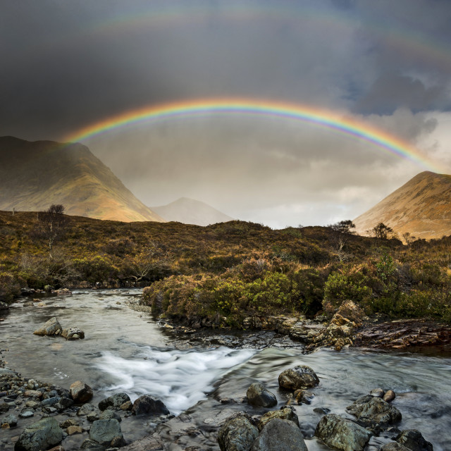 """Rainbow over the Cuillin"" stock image"