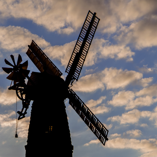 """""""Silhouette of a traditional old windmill in countryside England, UK"""" stock image"""