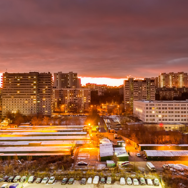 """""""October 2017, Moscow, Russia - aerial view of modern high rise residential buildings with dramatic sunset sky"""" stock image"""