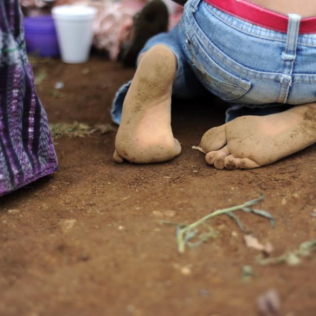 """A barefoot of maya indigenous girl in Guatemala."" stock image"