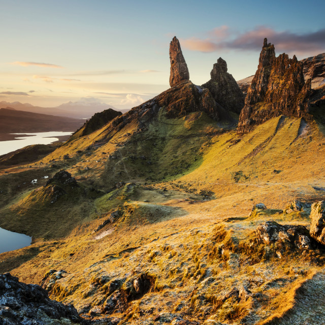 """Sunrise, Old Man of Storr"" stock image"