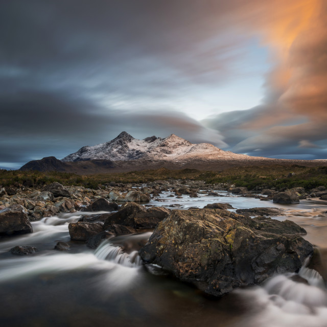"""""""Dramatic clouds over the Cuillin mountains"""" stock image"""
