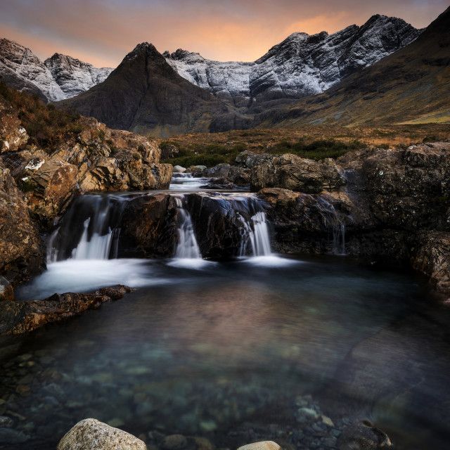 """Sunset, Fairy Pools, Isle of Skye"" stock image"