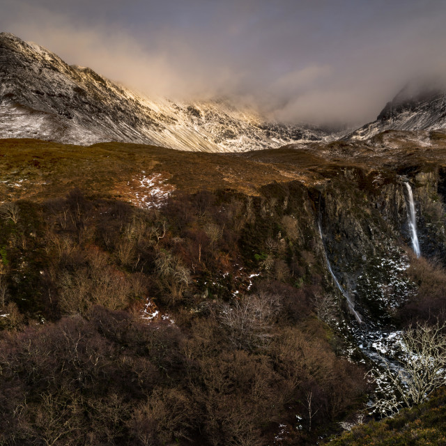 """""""Stormy mountains, and waterfall"""" stock image"""