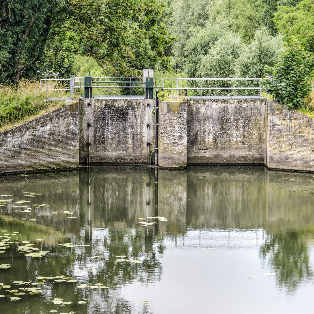 """""""Old sluice in a creek"""" stock image"""