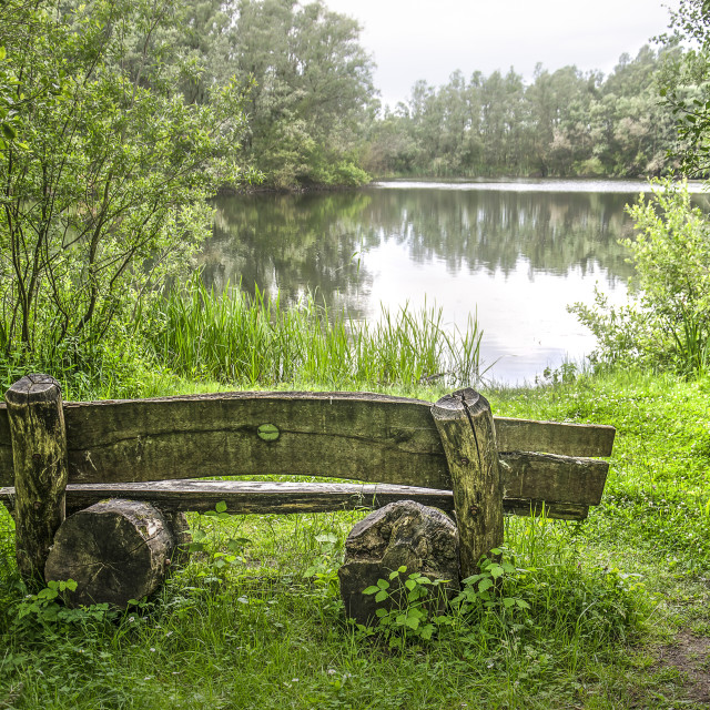 """""""Rustic bench by the lake"""" stock image"""