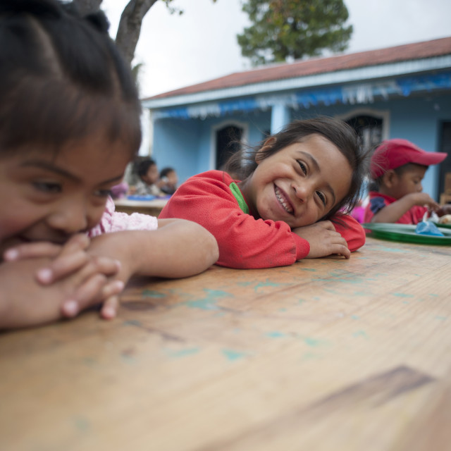 """Maya indigenous children at preschool in El Barranco, Solola, Guatemala."" stock image"