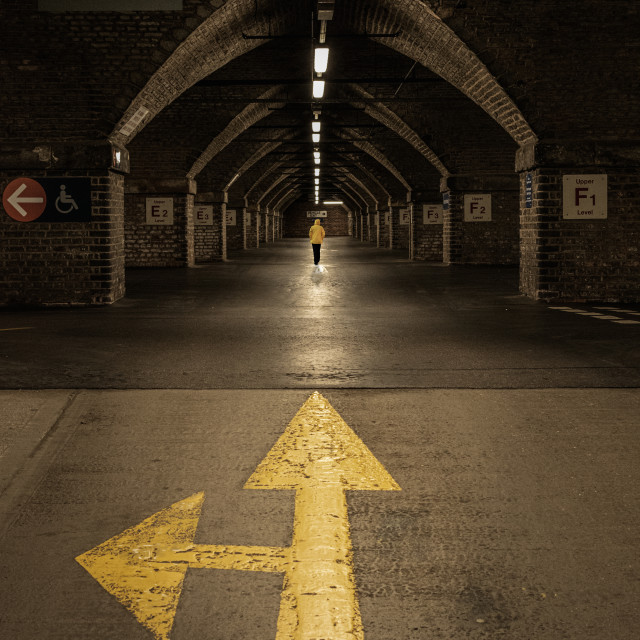 """Which Way? Subterranean Garage, Manchester"" stock image"