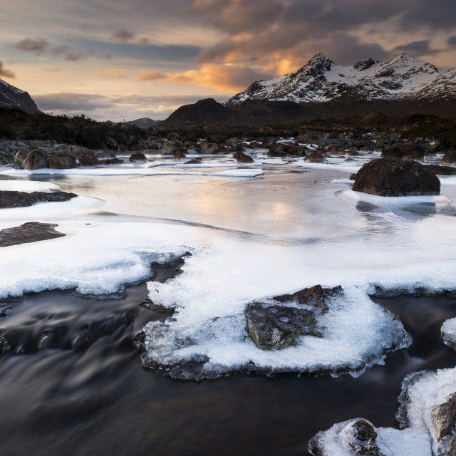 """""""Icy River Sligachan, sunrise"""" stock image"""