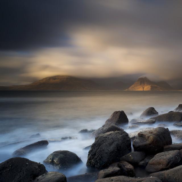 """Stormy sunset, Elgol, Isle of Skye"" stock image"