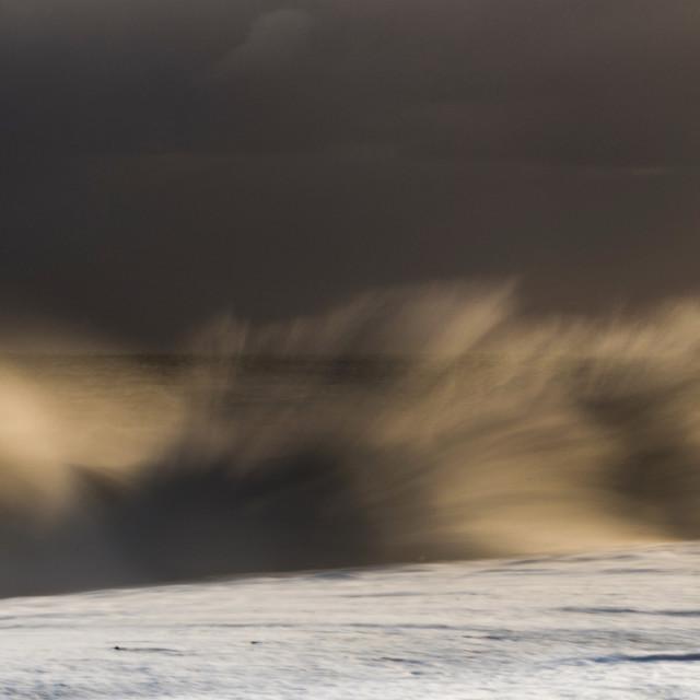 """Breaking wave, Reynisdrangar beach, Iceland"" stock image"