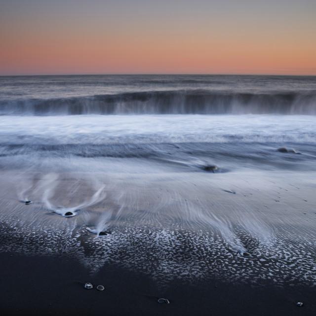 """Wave patterns, Reynisdrangar beach, Iceland"" stock image"
