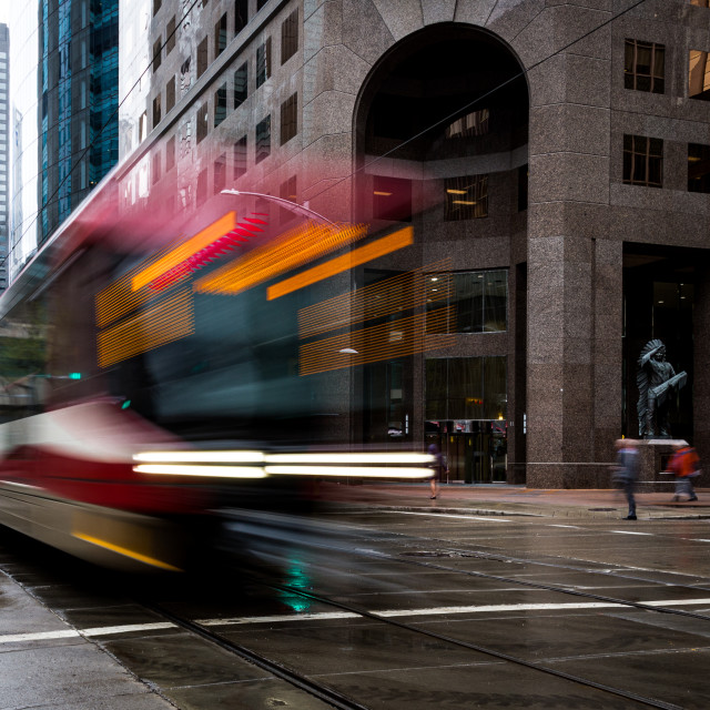 """Speeding Train in a city centre"" stock image"