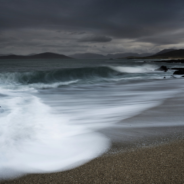 """Waves and storm , Bagh Steinigidh, Harris"" stock image"