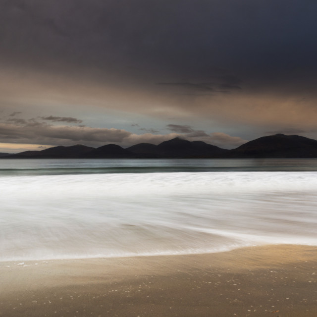 """Wave, Luskentyre beach, sunrise"" stock image"