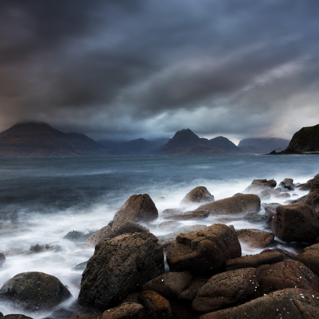 """Stormy skies over the Cuillin mountains, Elgol"" stock image"