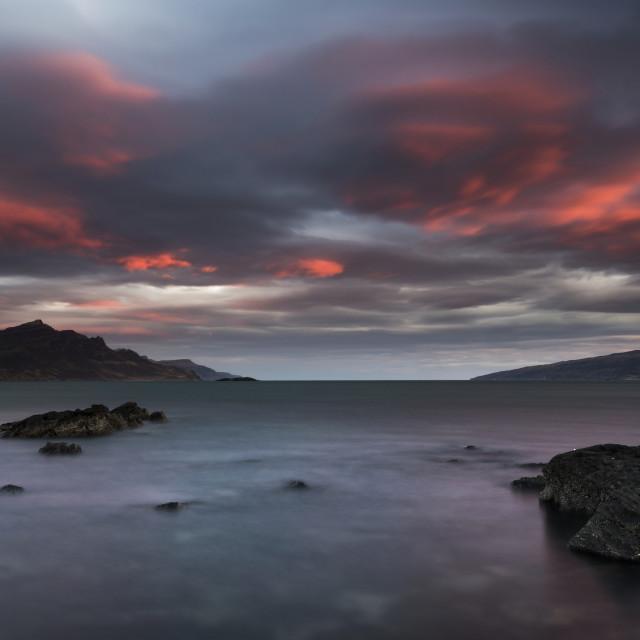 """Dramatic sky over Ben Tianavaig, Isle of Skye"" stock image"