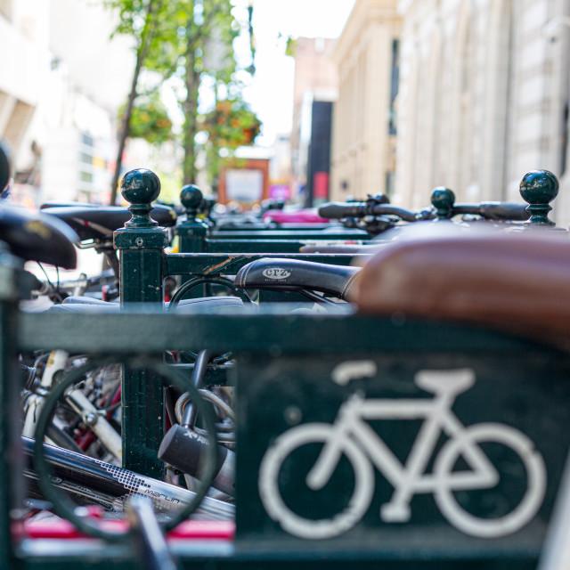 """Bikes on a bike rack"" stock image"