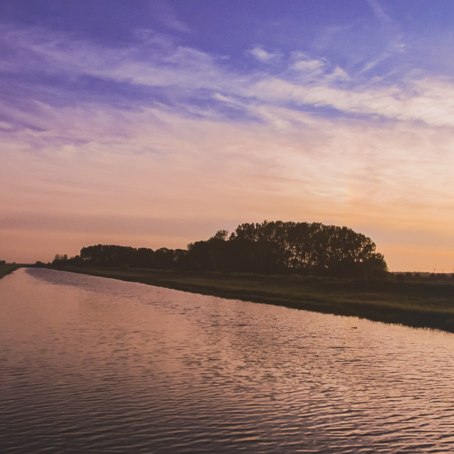 """""""Evening sky over River Welland"""" stock image"""
