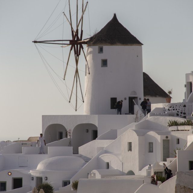 """""""windmill at Oia Town"""" stock image"""