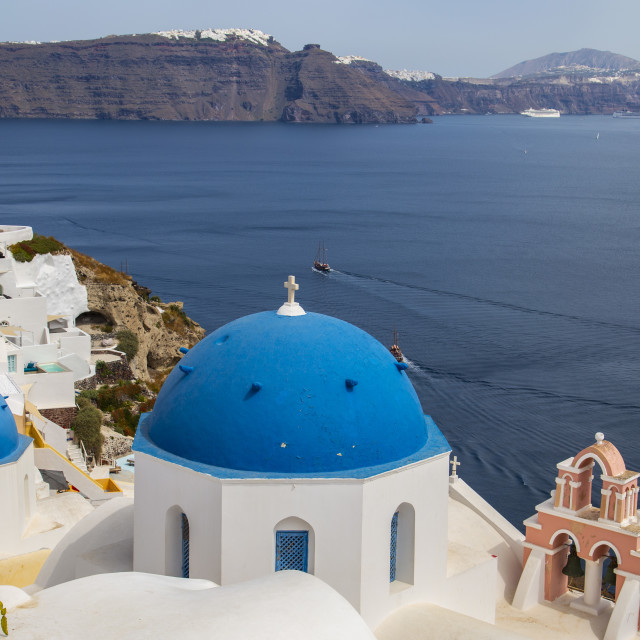 """""""Blue domes of Oia"""" stock image"""