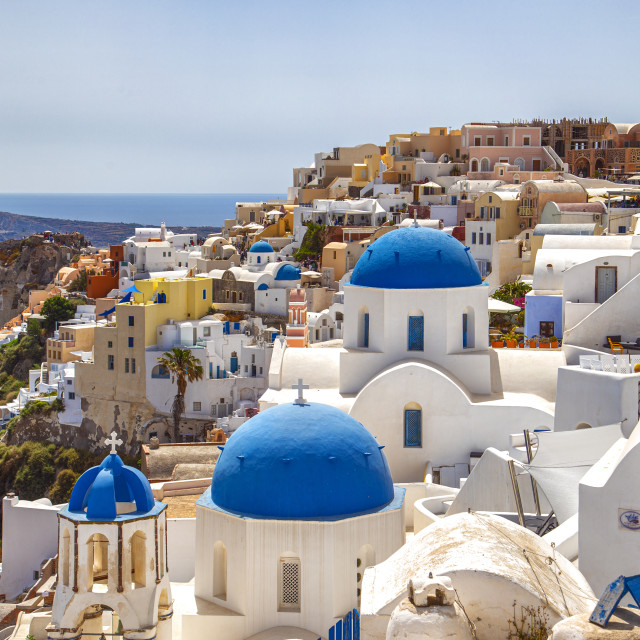 """Blue domes of Oia - Santorini Greece"" stock image"