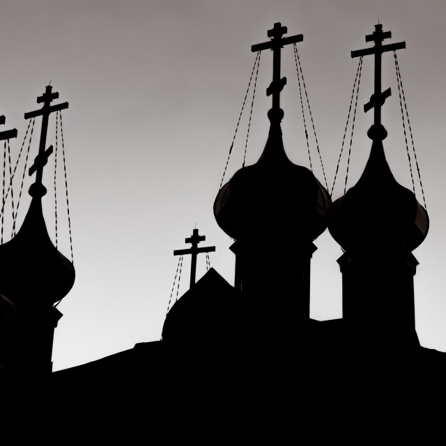 """""""October 2017, Ulyanovsk, Russia - Silhouette of the Church of Saints Cosmas and Damian built at the territory of Ulyanovsk Regional Clinical Hospital"""" stock image"""