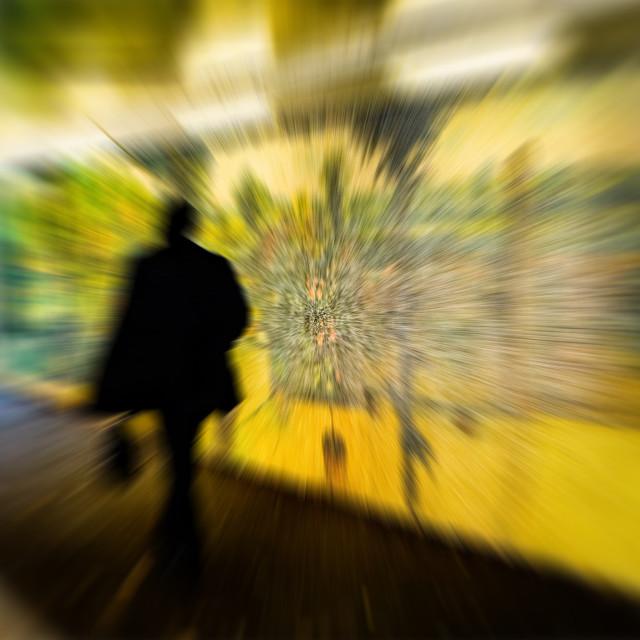 """Going to Work - Man and Street Art, Bracknell Berkshire"" stock image"