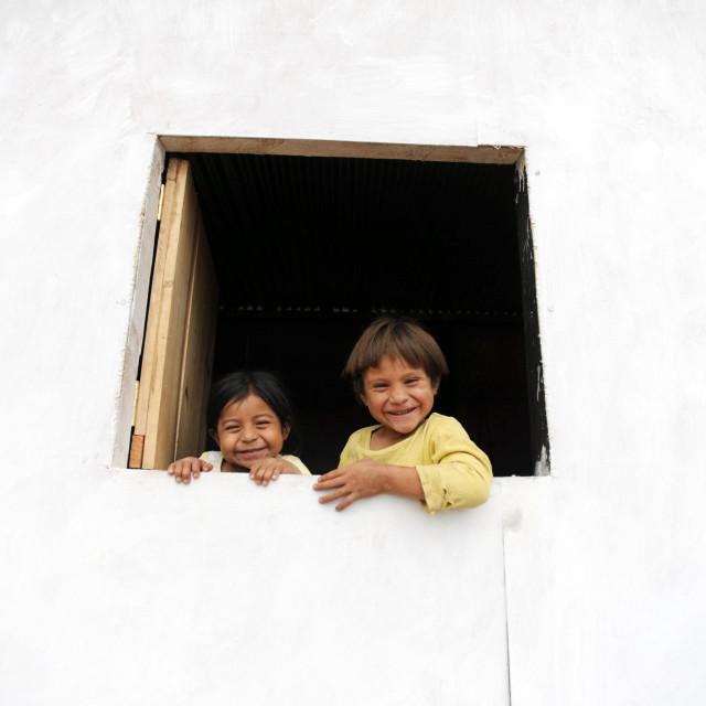 """Maya children in Aqua Escondida in Solola department, Guatemala."" stock image"