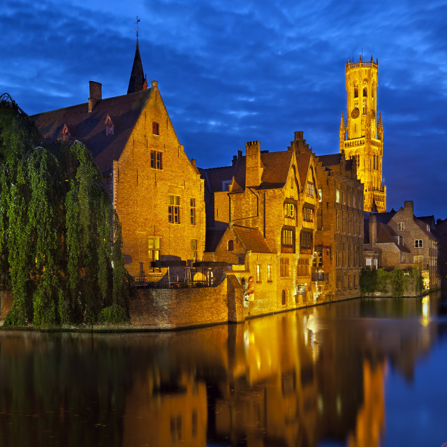 """Brugge at night, Belgium"" stock image"
