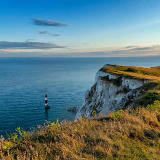 """Golden light at Beachy Head lighthouse"" stock image"