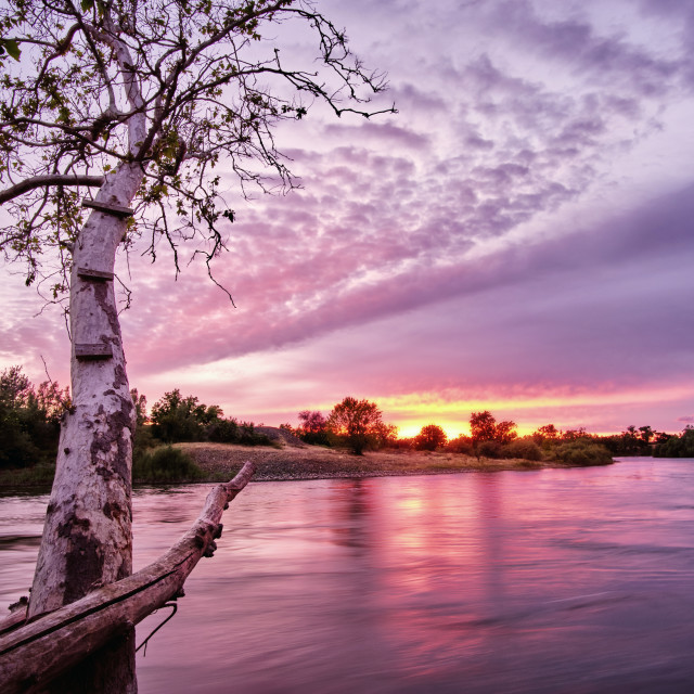 """Landscape of the Feather River with a pink sunset background."" stock image"